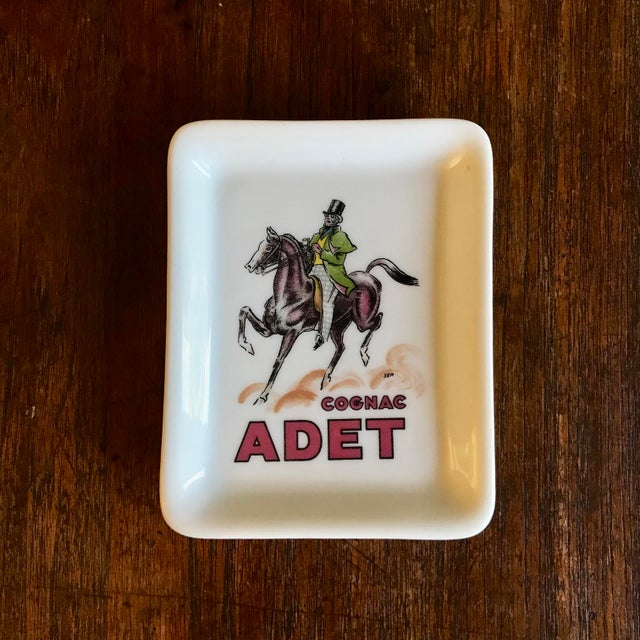 Limoges France, Rare Porcelain Advertising Dish, Cognac Adet Porcelain Ashtray Old advertising ashtray, cognac Adet,...