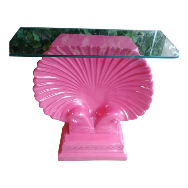 Clam Shell Bright Pink Palm Beach Regency Console Table Base Grosfeld House Style For Sale