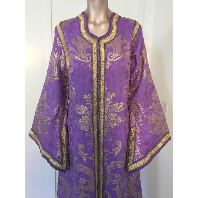 Evening or interior lavender and gold metallic floral brocade dress kaftan with gold trim. Hand-made ceremonial caftan...