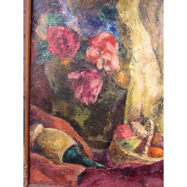 1960s 1960s Vintage Suzanne Peters Oil on Canvas Studio Still Life With Roses, Peonies, Clay Vessels & Fruit Painting For Sale - Image 5 of 9