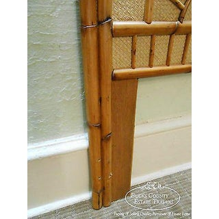 Vintage Rattan Bamboo Sunburst Design Twin Size Bed Headboard Preview