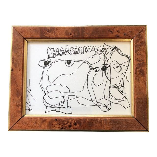Vintage Original Wayne Cunningham Abstract Ink Drawing Vintage Frame Signed For Sale