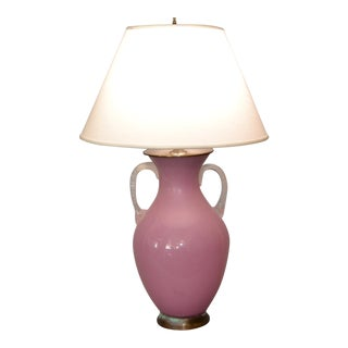 Mid-Century Modern Scavo Glass Handled Pink and Clear Table Lamp by Chapman For Sale