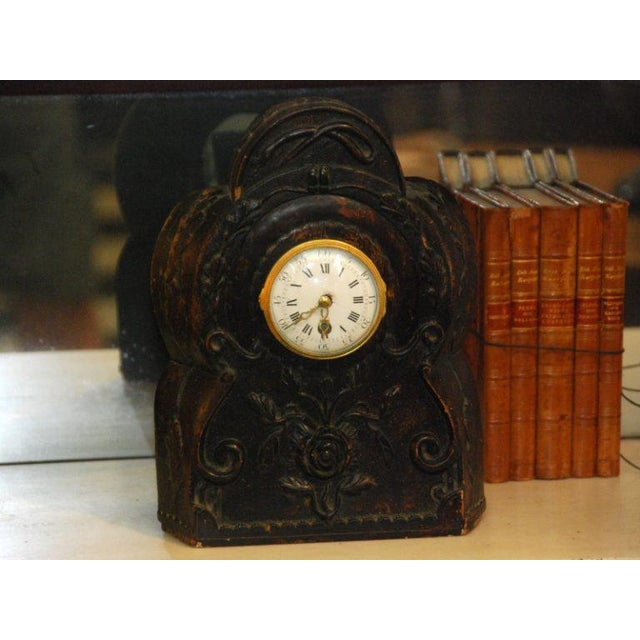 French Country 19th Century Carved Clock For Sale - Image 3 of 4