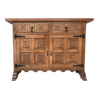 20th Century Catalan Baroque Carved Walnut Tuscan Two Drawers Credenza or Buffet For Sale
