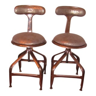 Copper Metallic Upholstered Swivel Stools - a Pair For Sale