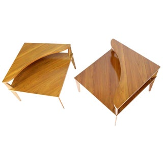 Pair of Mid-Century Modern Step End Corner Tables by John Stuart For Sale