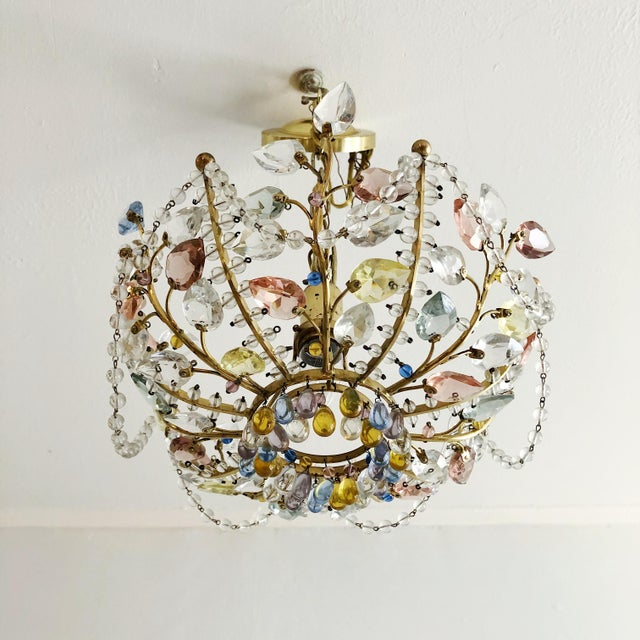 Mid-Century Modern Antique Maison Bagues Style Multi Color Austrian Crystal Ceiling Pendant Chandelier on Brass Frame For Sale - Image 3 of 9