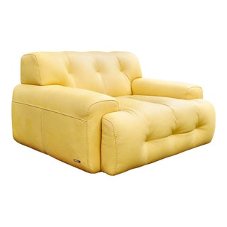 Contemporary Roche Bobois Tufted Yellow Club Chair For Sale