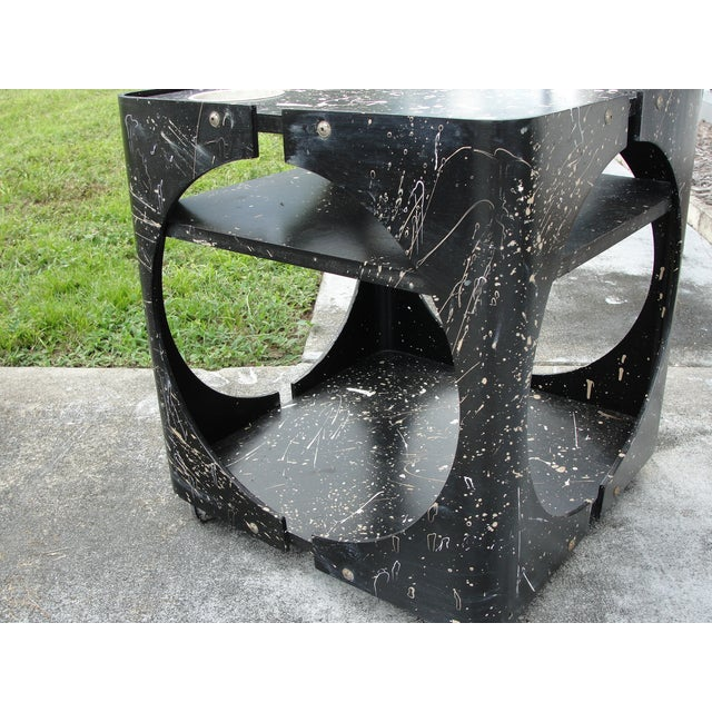 Abstract Geometric Rolling Bar Cart/Table - Image 7 of 9