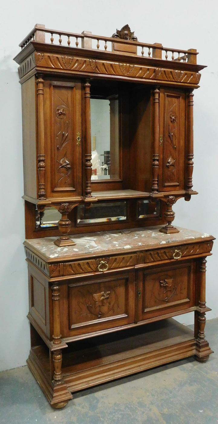 Description: Antique French Renaissance Carved Walnut Hunt Board Buffet  Cabinet With Hutch Top, Late