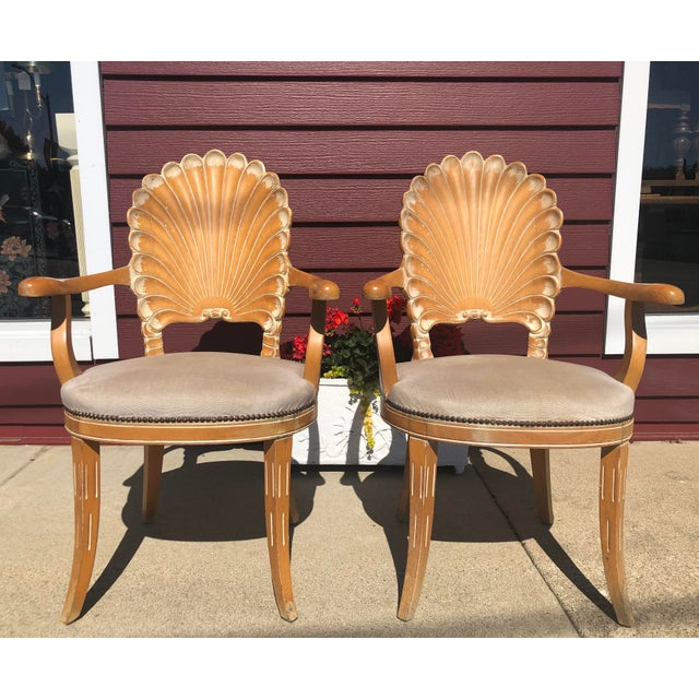 Fabulous set of 2 Italian carved shell back armchairs. Solid wood frames with a natural wood finish. Each chair was made...