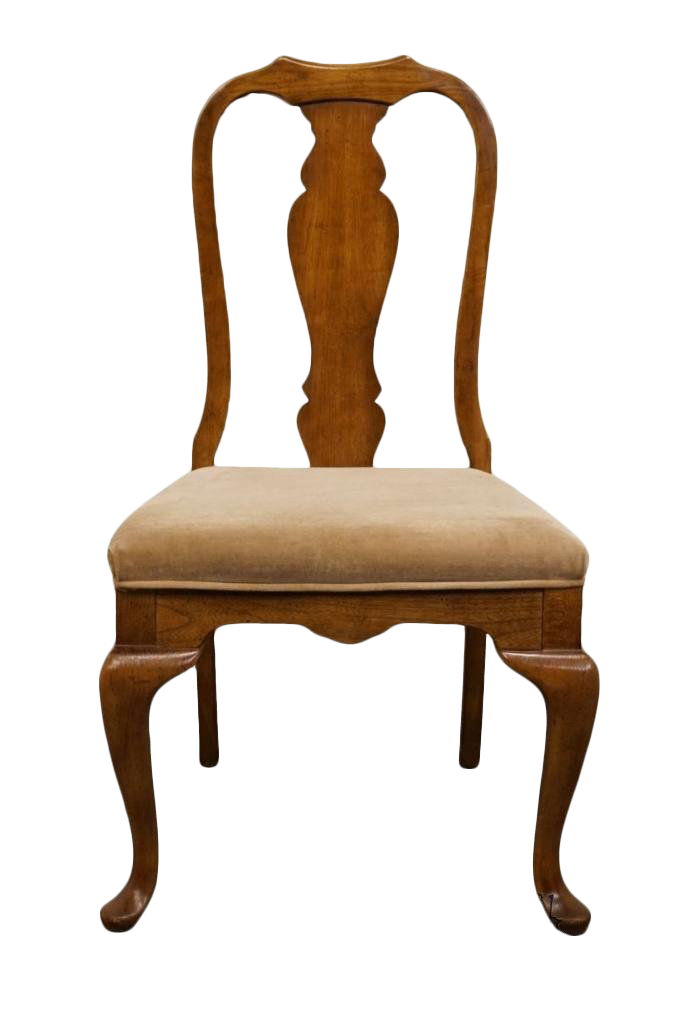 Late 20th Century Vintage Bernhardt Solid Pecan Queen Anne Side Dining Chair