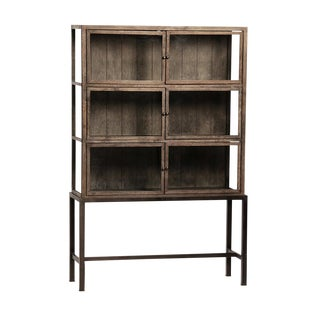 Oak & Iron Glass Door Cabinet For Sale
