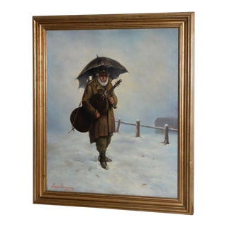 "Mid 19th Century ""Musician in the Snow"" Italian Oil Painting C.1866 For Sale"