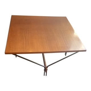 1950s Danish Modern Wood and Metal Coffee Table For Sale