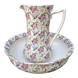 Early Crown Ducal Ivory Chintz Water Pitcher & Basin - 2 Pieces For Sale