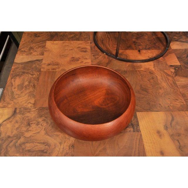 Mid-Century Modern 1950's Hand Turned Danish Teak Bowl For Sale - Image 3 of 6