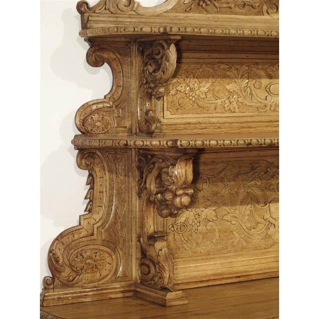 """Tan Richly Carved French Hunt Buffet """"St. Hubert"""" in Blonde Oak, Circa 1890 For Sale - Image 8 of 13"""