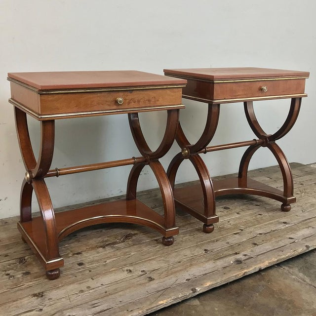 Pair Mid-Century French Charles X Side Tables were hand-crafted from exotic imported mahogany, and feature architecture...