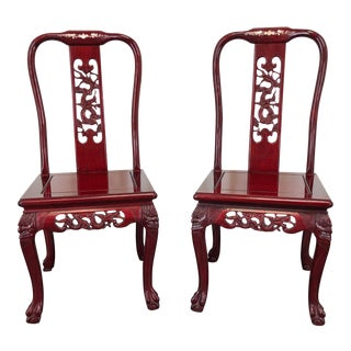 Chinese Carved Rosewood Mother of Pearl Inlay Dining Side Chairs - Pair 2 For Sale