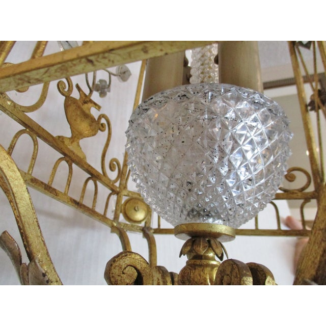 1970s Maison Bagues Style Crystal and Iron Gold and Silver Leaf Lantern Chandelier For Sale - Image 4 of 10