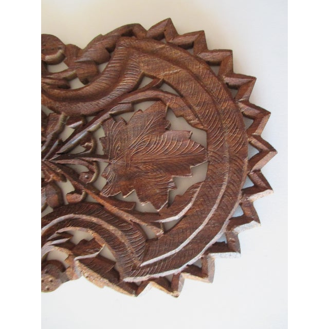 Indian Decorative Petite Indian Carved Wood Shelf For Sale - Image 3 of 6