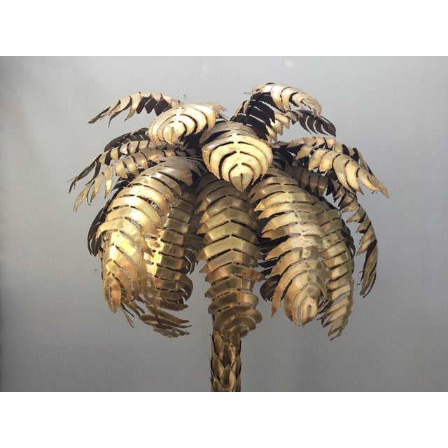 Maison Jansen Style Monumental Hollywood Regency Brass Palm Tree Floor Lamp - Image 3 of 6