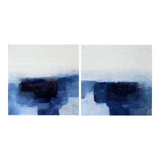 Minimalist Modern Abstract Original Blue White Painting Diptych Canvas Set - a Pair For Sale