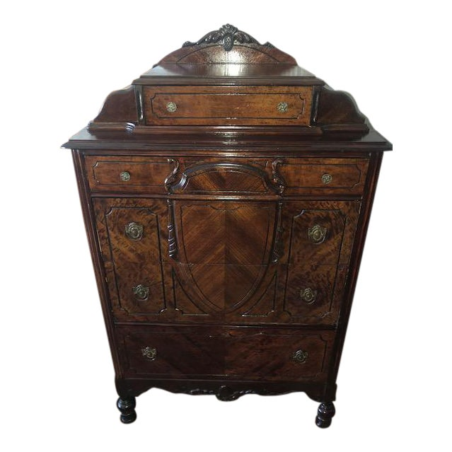 Antique 1930's Burled Walnut Dresser Chest Bureau With Mounted Glove Box For Sale