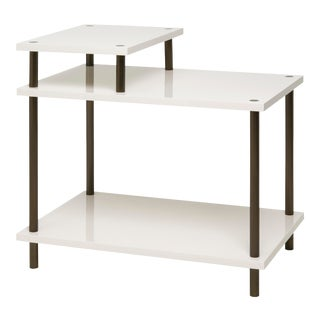 Addison Bedside Table in Slate White - Veere Grenney for The Lacquer Company For Sale