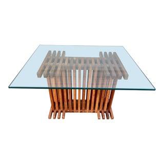 Mid Century Modern Slat Side Table For Sale