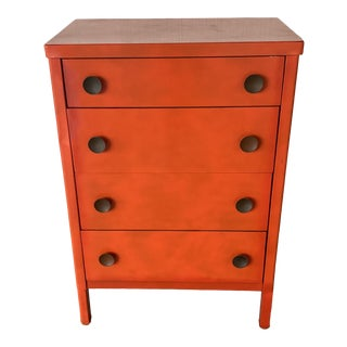 1970s Orange Metal Chest For Sale