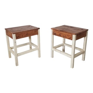 Rustic Style Brown and White Painted Walnut End Tables - a Pair
