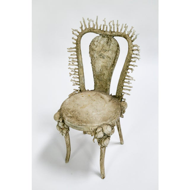 Coral White Fantasy Shell and Coral Chair With Embroidered Pillow For Sale - Image 7 of 13