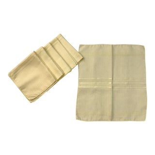 Mid-Century Modern Yellow Linen Napkins - Set of 6 For Sale