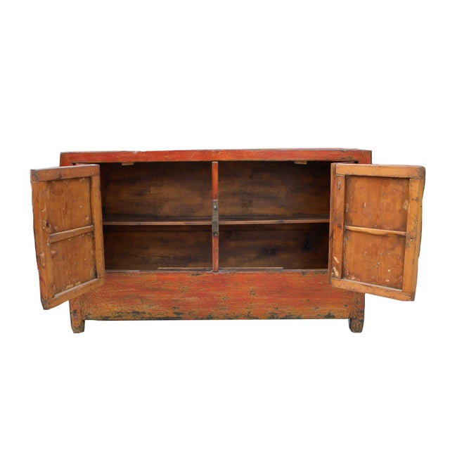 1950s 1950s Asian Modern Red Dongbei Wedding Cabinet For Sale - Image 5 of 7