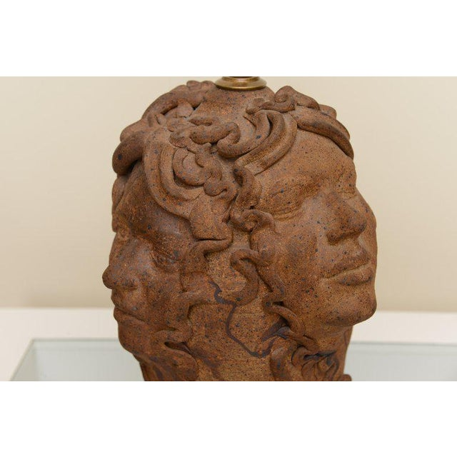 1960s 1960s Italian Medusa Head Studio Pottery Sculpted Lamp For Sale - Image 5 of 11