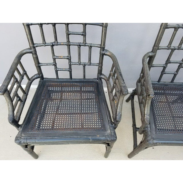 Chinese Chippendale Baker Milling Road Rattan Arm Chairs - Set of 4 For Sale - Image 10 of 12