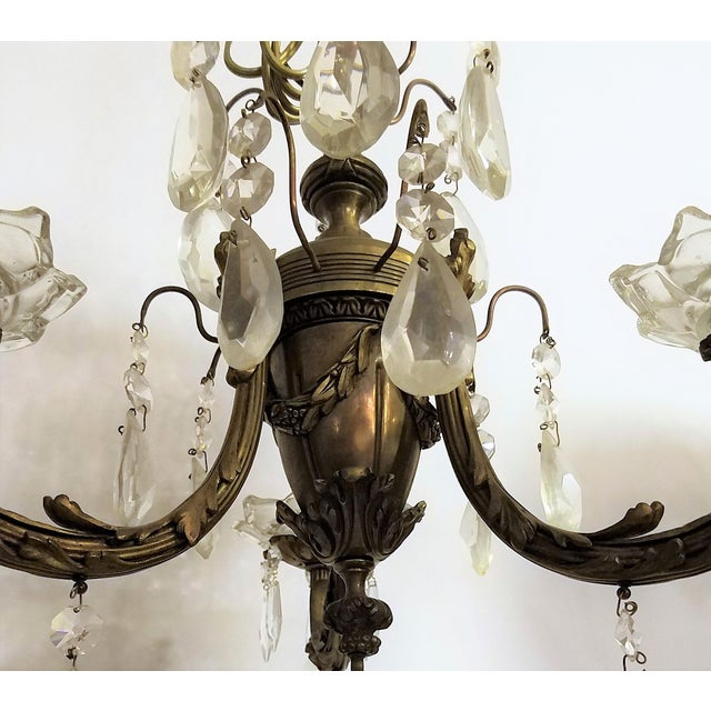 Circa 1910 Empire Style Baroque Bronze & Crystal Chandelier For Sale - Image 4 of 6