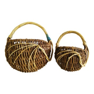 Vintage Handmade Wall Baskets - Set of 2 For Sale