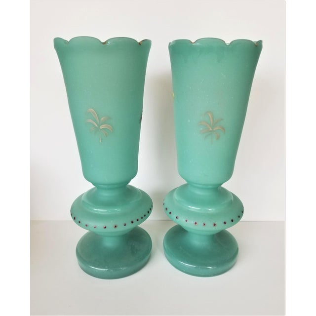 Victorian Hand Painted Blue Green Bristol Frosted Glass Vases - a Pair For Sale - Image 9 of 13