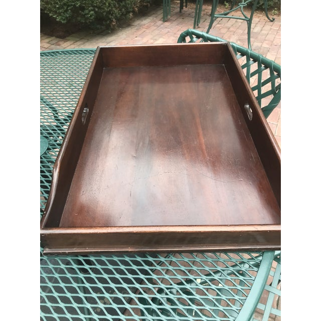 Campaign Style Mahogany Butlers Tray on Stand—Can Be Shipped in Box by Ups For Sale - Image 10 of 12