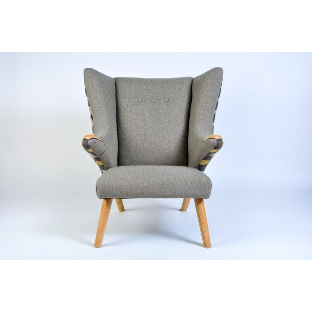 1950s Mid-Century Modern Wegner Arm Chair & Ottoman For Sale - Image 5 of 8