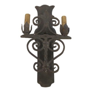 Two Light Wrought Iron Rustic Sconce