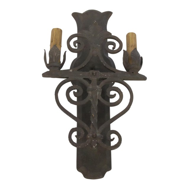 Two Light Wrought Iron Rustic Sconce - Image 1 of 7
