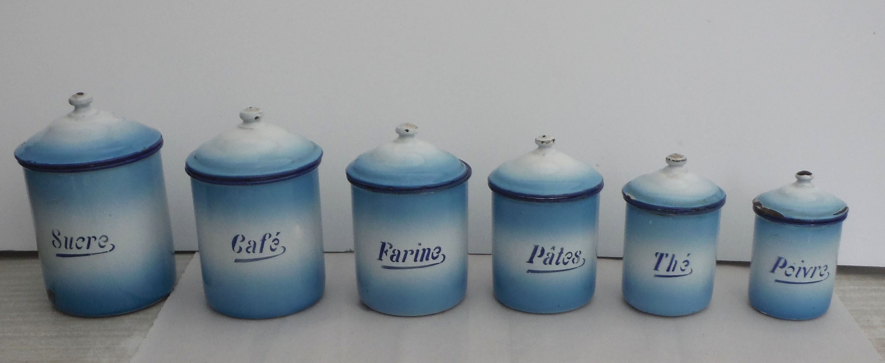 French Kitchen Canisters: French Enamel Kitchen Canisters - Set Of 6