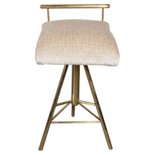 Mid-Century Modern Swivelling Brass Stool with Gauffraged Crocodile Velvet For Sale