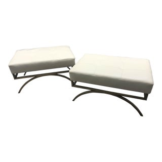 Barbara Barry for Baker Leather and Brass Arc Benches - A Pair For Sale