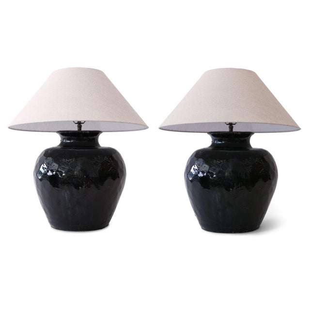 Black Glazed Terracotta Table Lamp For Sale - Image 9 of 10